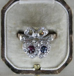 antique twin heart ring