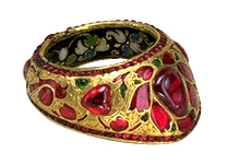 thumb ring with rubies and gold