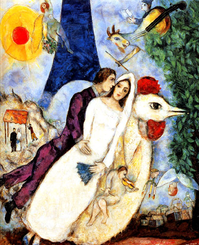 bride and groom marc chagall