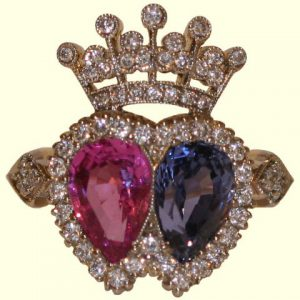 modern twin heart ring