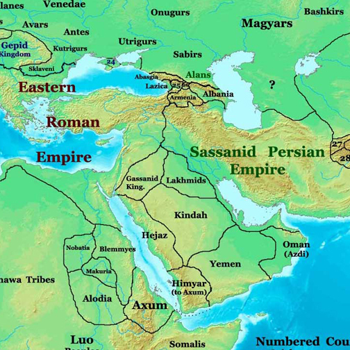 Near East map from 565 AD