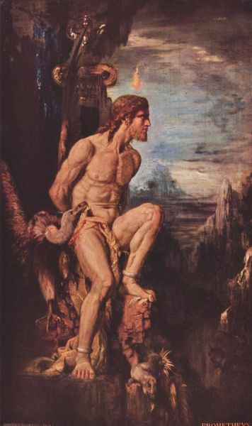Prometheus chained to a rock