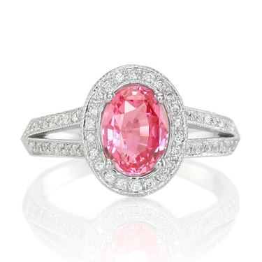 pink sapphire ring with split shank setting