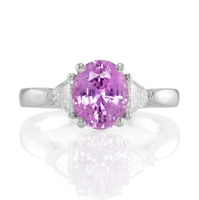 purple sapphire three stone ring