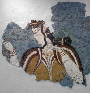 ancient fresco Mycenae woman accepts gift