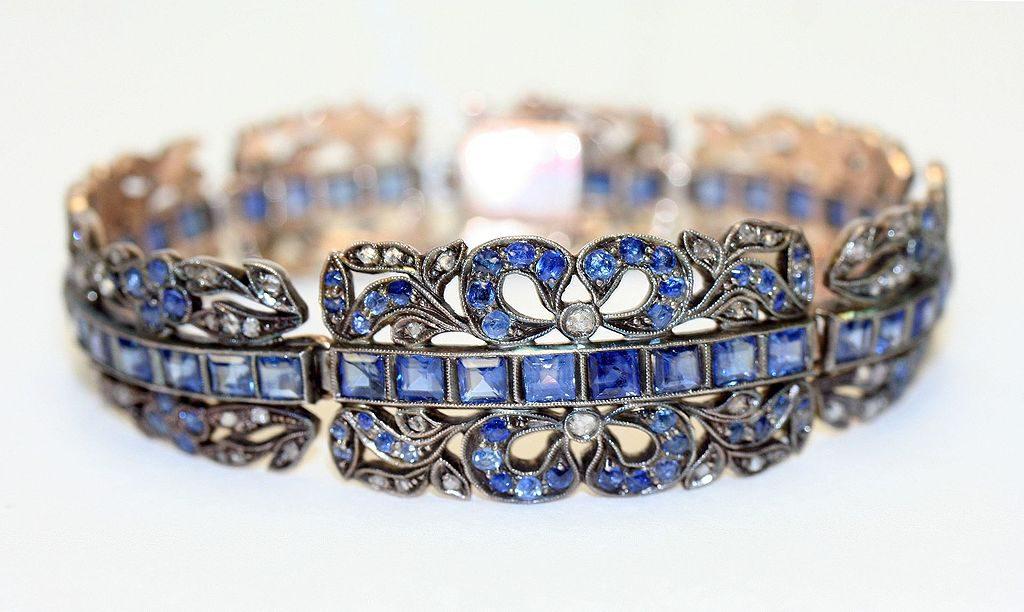 gold diamond sapphire bracelet