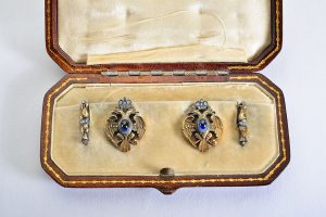 Faberge sapphire diamond cufflinks