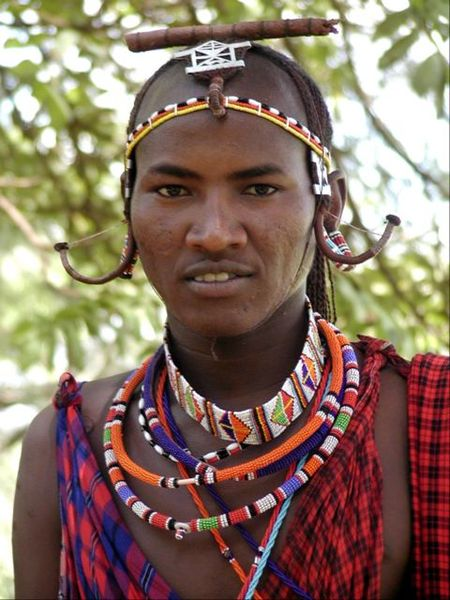 Maasai man wearing necklaces