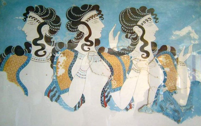 Minoan fresco women wearing jewelry