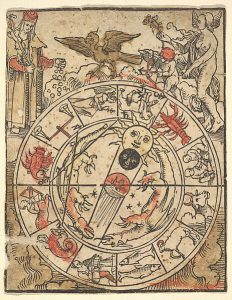 woodcut with zodiac signs