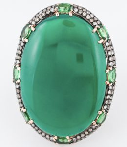 mid-century cabochon cocktail ring