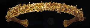 gold diadem with flowers