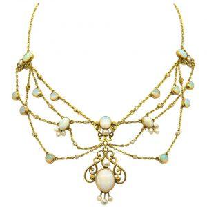 antique opal festoon necklace