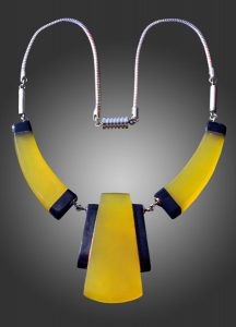 blue and yellow art deco necklace
