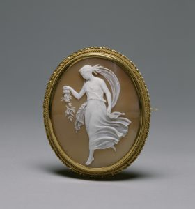 cameo brooch showing spring