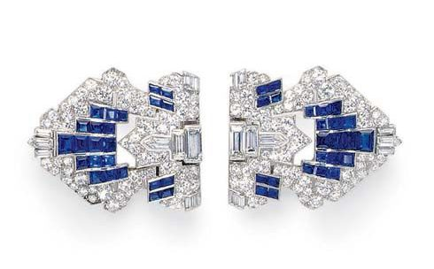 diamond and sapphire dress clips