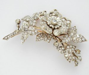 gold and diamond en tremblant brooch