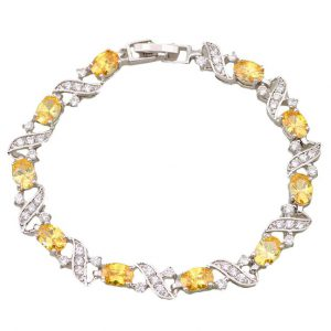 yellow and white diamond link bracelet