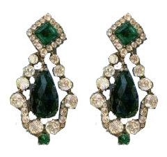 marie-louise emerald diamond earrings
