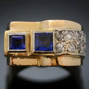 retro ring with sapphires and diamonds