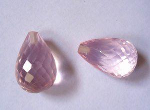 rose quartz briolette cut