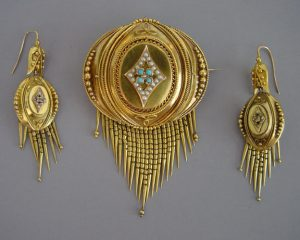 victorian etruscan brooch and earrings