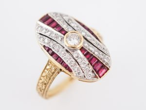 Retro ruby cocktail ring