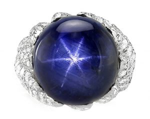 blue star sapphire and diamond ring