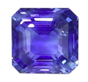 Ceylon blue asscher cut sapphire