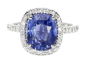Ceylon cushion blue sapphire engagement ring