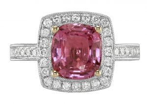 halo setting pink sapphire ring
