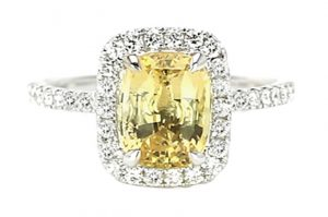 cushion halo yellow sapphire engagement ring
