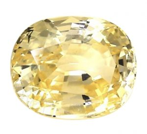 yellow oval sapphire from Ceylon
