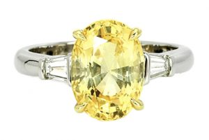 three stone yellow sapphire engagement ring