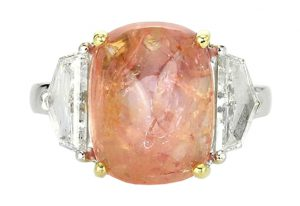 padparadscha cabochon sapphire diamond ring