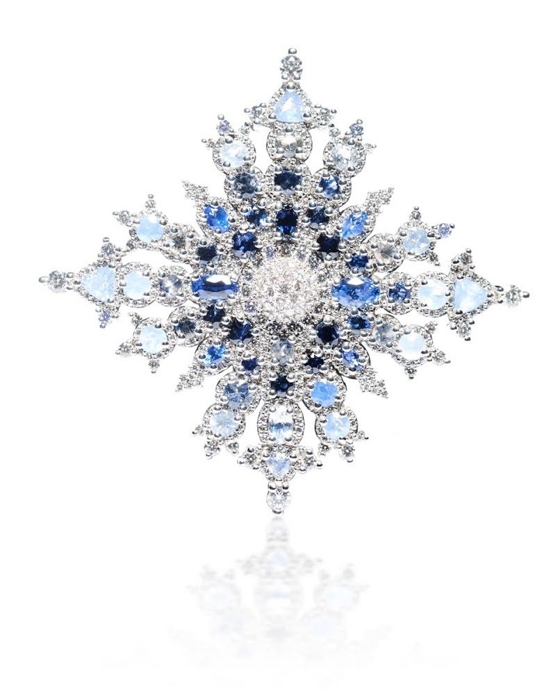 Canadian snowflake sapphire brooch