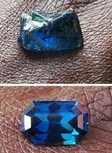 radiant cut Nigerian blue sapphires