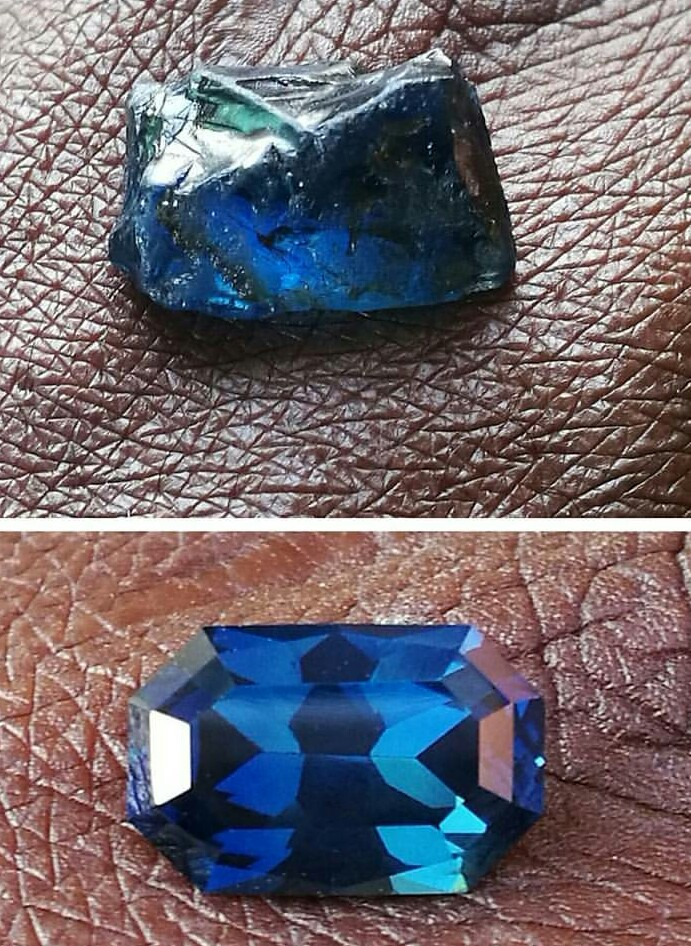 Before and after a sapphire gemstone is cut.
