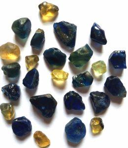 yellow blue bi-color sapphire rough