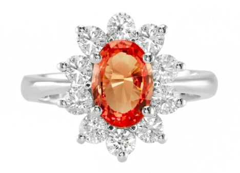 oval orange sapphire diamond ring