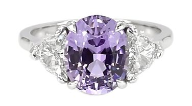 three stone oval purple sapphire ring