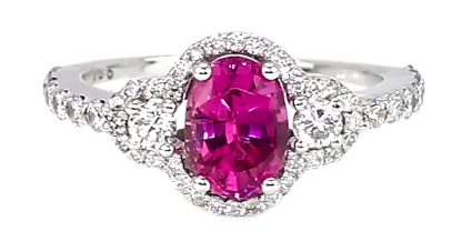 magenta purplish-pink sapphire diamond ring
