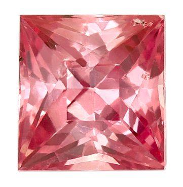 princess cut reddish-pink sapphire