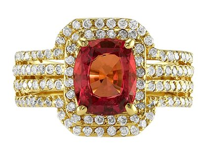 cushion reddish-orange sapphire diamond ring