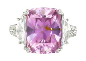 purplish-pink sapphire diamond ring