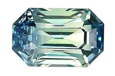 Nigerian bi-color sapphire emerald cut