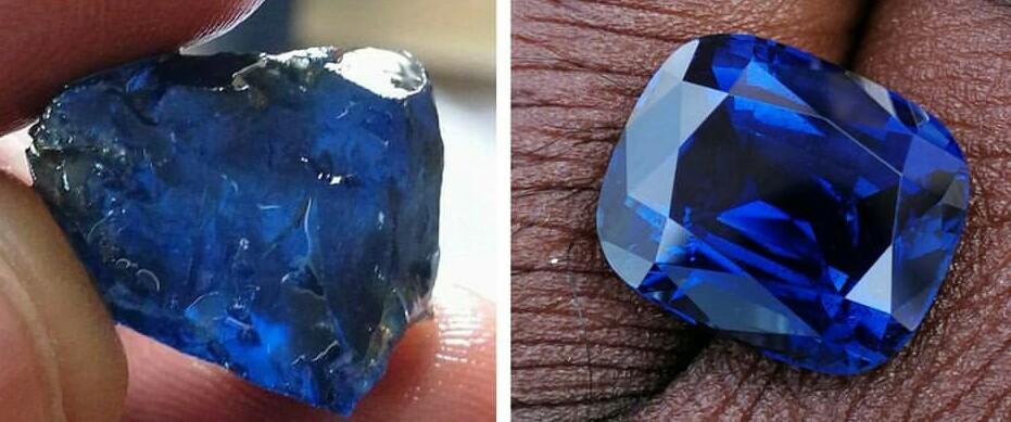 cushion cut Nigerian blue sapphire