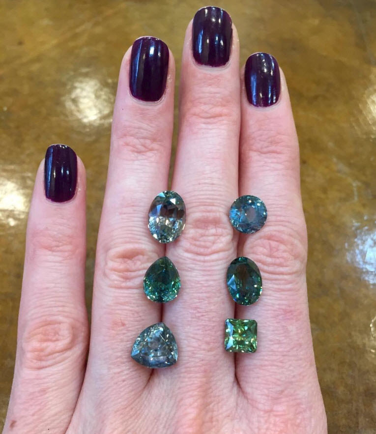 natural untreated blue and green sapphires