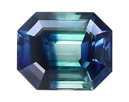 emerald cut bi-color sapphire