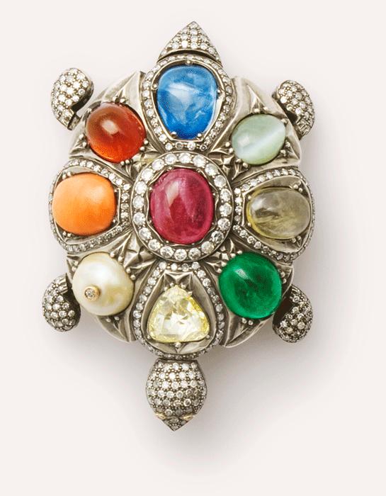 navaratna turtle pendant